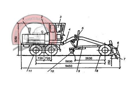 Автогрейдер ДЗ-122 схема