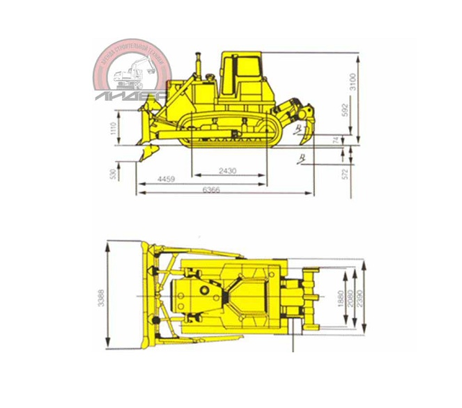 Бульдозер Shantui SD-16 размеры