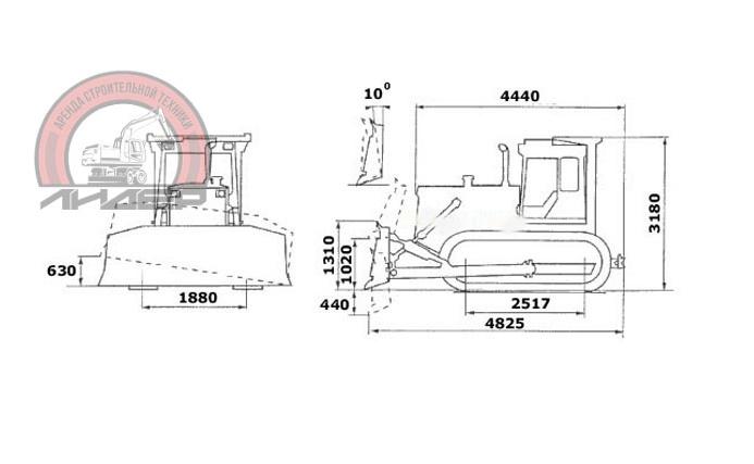 Габаритные характеристики бульдозера Т-170
